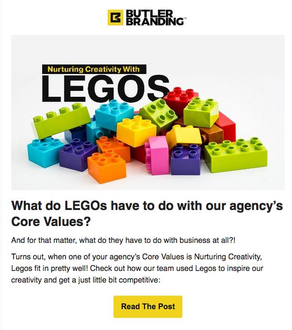 Butler Legos Creativity Email