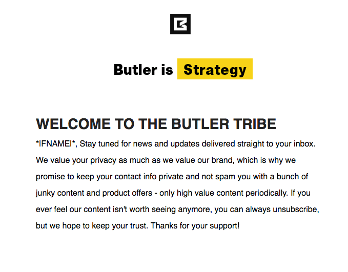 Welcome to the Butler Tribe Email