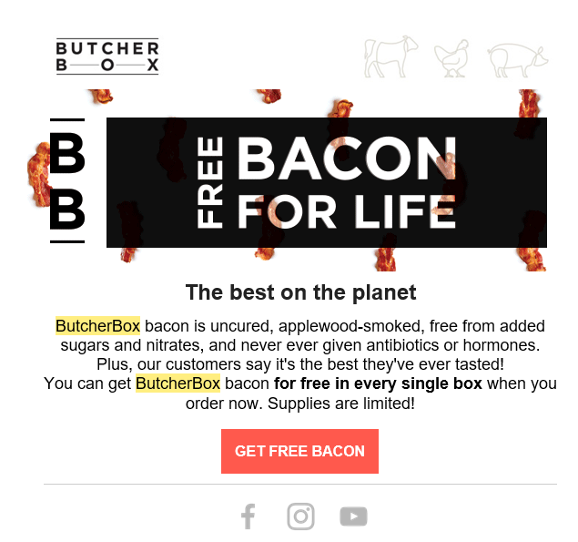 ButcherBox Free Bacon Email 1