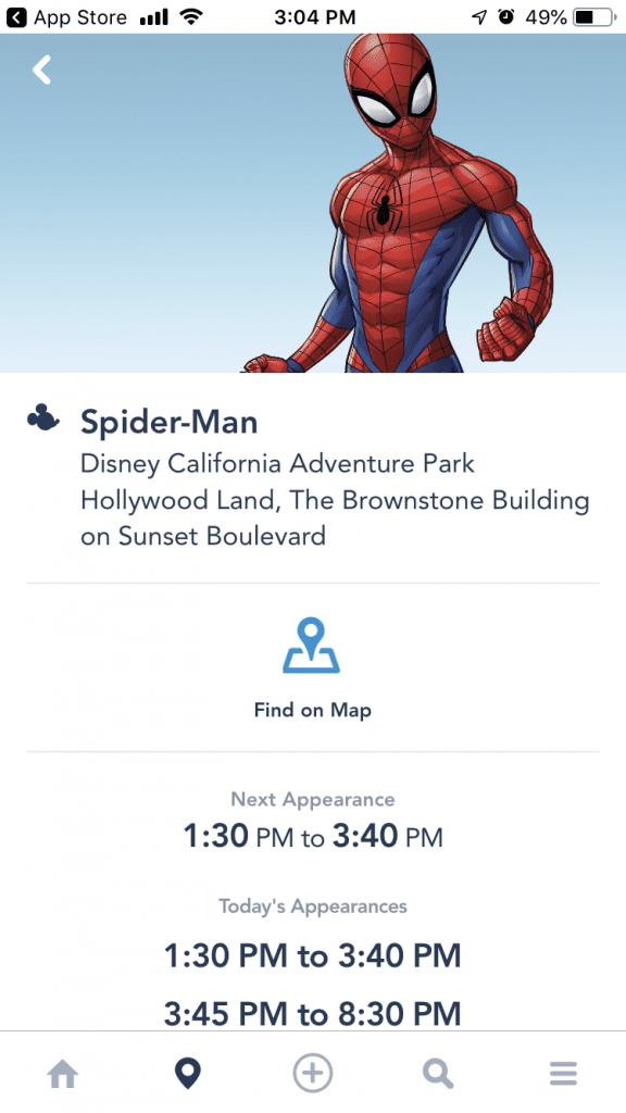 Spider-Man Book an Experience Disneyland App